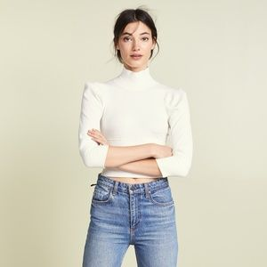 nwt | Free People Ivory Lala Mock Neck Top